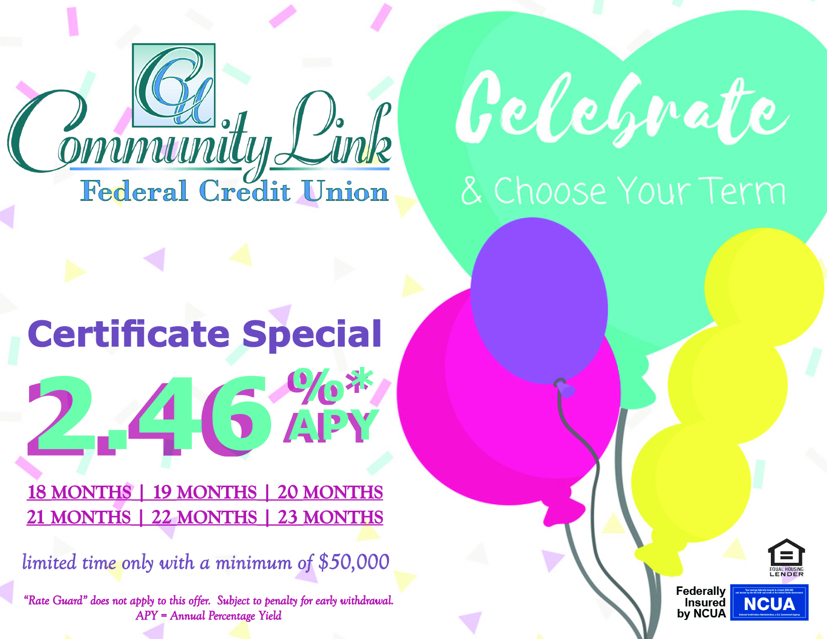 Balloons with confetti background. Ad states Celebrate & Choose your term. Limited Time Only, Certificate Special with a minimum of $50,000.
