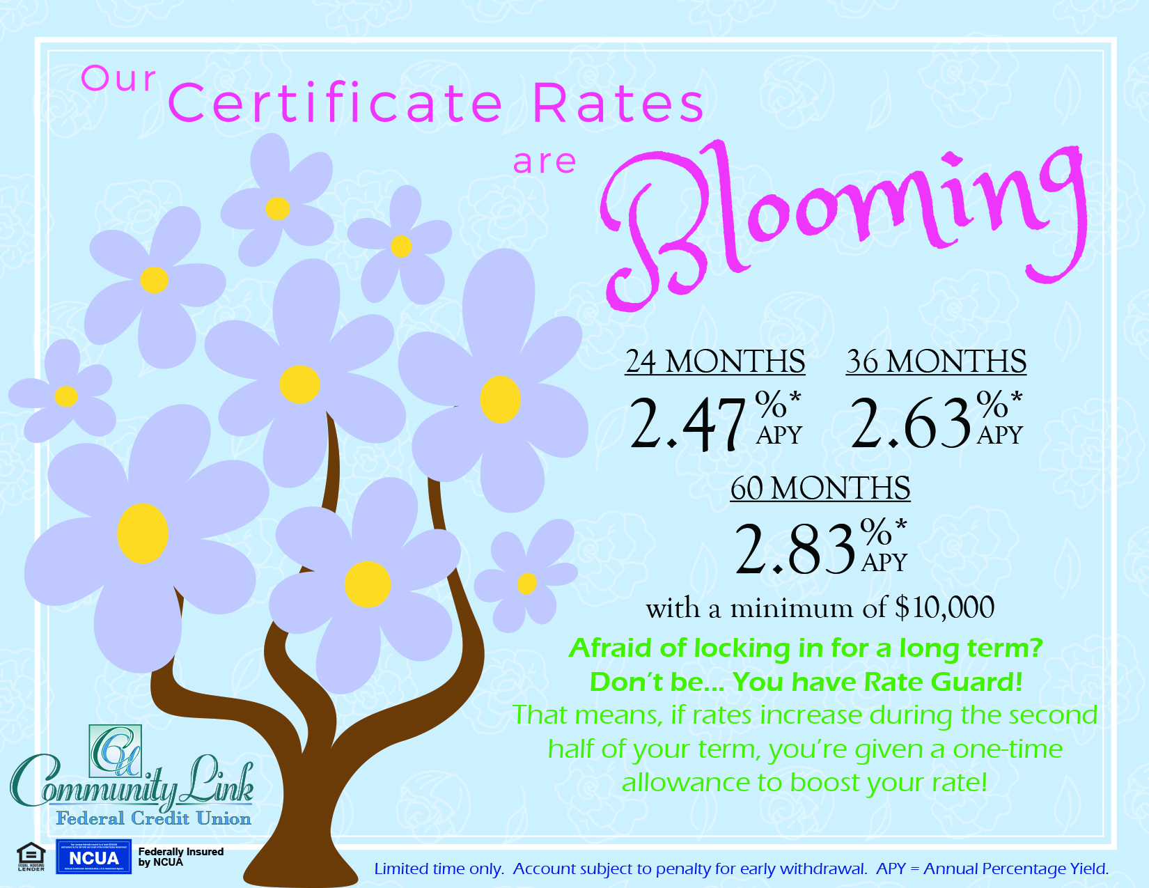 """Blue background with illustrated purple flowering tree. Ad states """"Our Certificate Rates are Blooming!"""" with a minimum of $10,000. Rate Guard applies."""