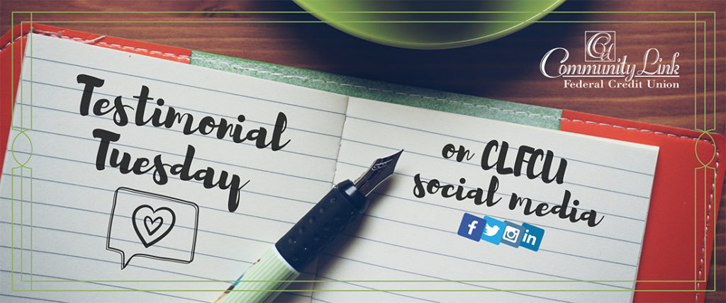 """Notebook, pen, and coffee cup on desk. Ad states """"Testimonial Tuesday on CLFCU social media"""""""